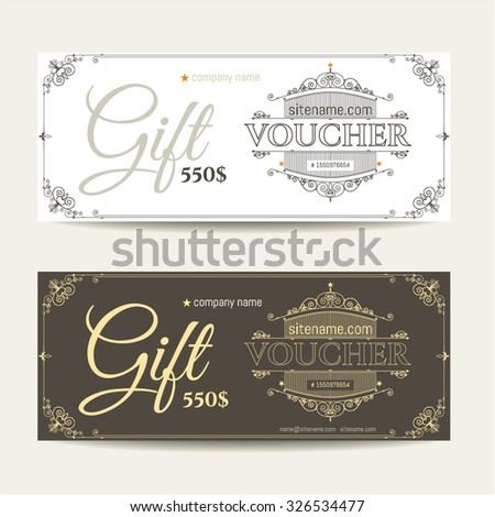 Gift voucher place text logo contact stock vector for Hotel voucher design