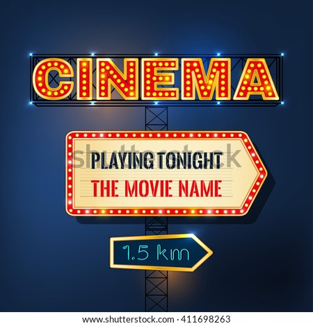 Retro glowing cinema signboard with illuminated elements in red, beige, golden and blue colors on a dark background.  Beautiful vector illustration made in bright glamorous style.