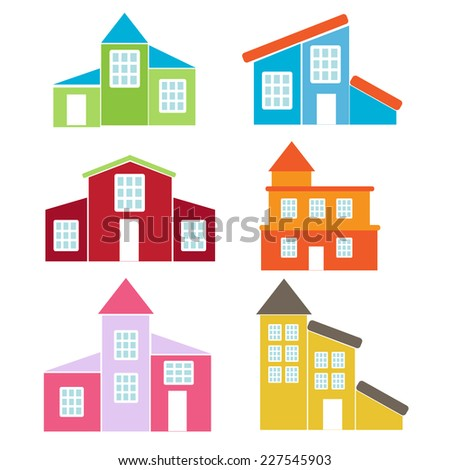 retro house icon set. vector