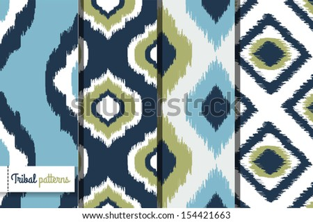 Retro ikat tribal seamless patterns, fashion design, illustration for ...