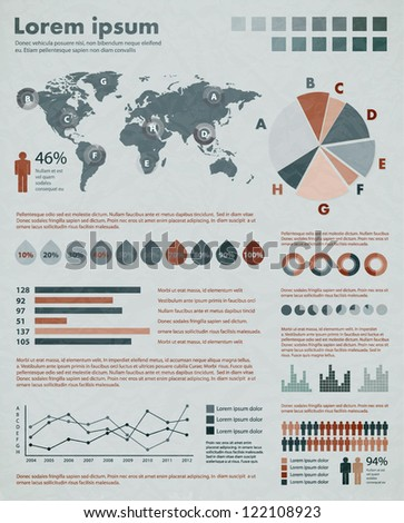 Retro infographic set. World Map and Information Graphics