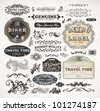 retro label style collection | vintage page elements set - stock