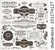 Retro labels and vintage badges: Bakery, Guaranteed and Satisfaction, Coffee House, Genuine | Set of old page elements for design | Grunge paper background - stock vector
