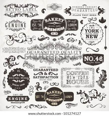 Vector set calligraphic design elements page stock vector for Classic house labels