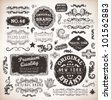 Retro labels and vintage badges: Original Brand, Guaranteed and Satisfaction, Travel Time, Genuine | Set of old page elements for design | Grunge background - stock photo