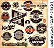 Retro labels. Vintage labels collection. Premium Quality Guarantee vintage styled signs set. - stock vector