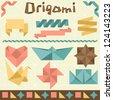 Retro origami set with design elements. - stock vector
