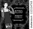 Retro party invitation design - stock photo