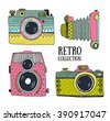 Retro photo cameras set. Vector illustration. Vintage cameras with ornaments. Hipster vector set. - stock vector