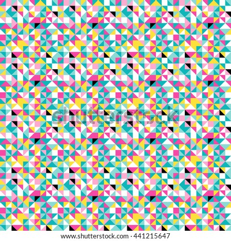 Retro polygonal seamless pattern in origami and kaleidoscopic style