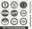 Retro Premium Quality Labels - Monochrome version - stock vector