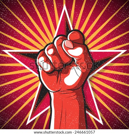 Retro Punching Fist Sign. Great illustration of Russian Propaganda style punching Fist symbolising Revolution.