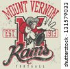 "Retro ""Rams"" athletic design complete with ram mascot (as a running back, running with football) vector illustration, vintage athletic fonts and matching textures - stock vector"