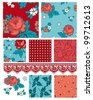 Retro 50's floral vector patterns.  Use to create digital paper or patchwork pieces for quilts or other craft projects. - stock vector