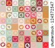 Retro seamless pattern with colorful hearts. And also includes EPS 8 vector - stock
