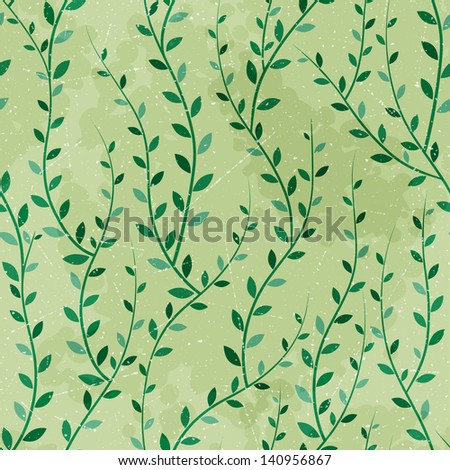 Retro seamless texture of green trees. Vector pattern.