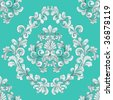 retro seamless tiling floral wallpaper pattern reminiscent of floral victorian designs inspired by greek and roman ornament. - stock photo
