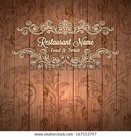 Retro set of labels for restaurant menu on wood texture. Vector vintage baroque engraving floral scroll filigree design