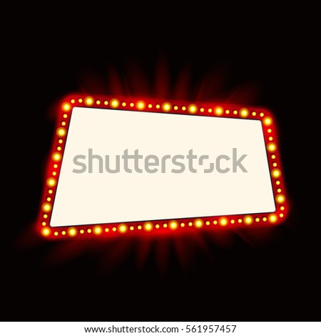 Shining retro light banner vector illustration stock vector 315140132 shutterstock - Showtime design ...