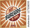 Retro style burger sign, vintage poster template, background - stock vector