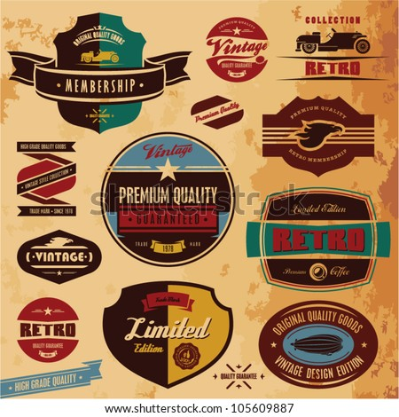 Retro style labels and badges vintage collection. Limited edition. Premium quality.