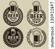 Retro Styled Beer Seals / Labels - stock photo