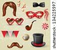 Retro-styled fancy dress elements - stock vector