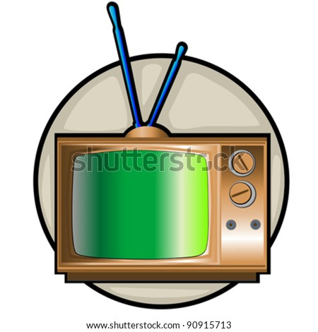 retro tv set clip art on a classical background isolated on white