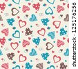 Retro valentine seamless pattern with hearts - stock vector