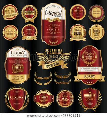 Retro vintage golden frames and labels background collection