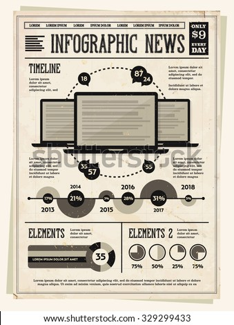 Retro Vintage Newspaper with Set of Infographic Elements for Your Documents and Reports