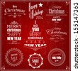 Retro Vintage style design of Christmas and Happy New Year labels and decoration, Vector calligraphic and typographic collection - stock vector
