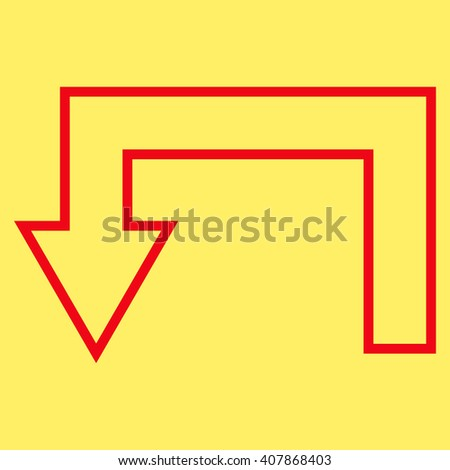 Return Arrow vector icon. Style is thin line icon symbol, red color, yellow background.