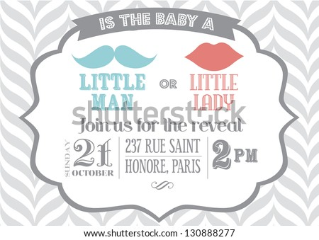 Baby Shower Boylittle Man Invitation Template Stock Vector