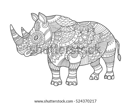 baby rhino coloring page - brazilian baby tapir ink vector drawing stock vector