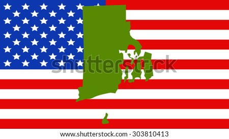 Rhode Island Map On A Vintage American Flag Background