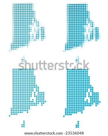 Rhode Island Usa Map Mosaic Set Isolated On White Background