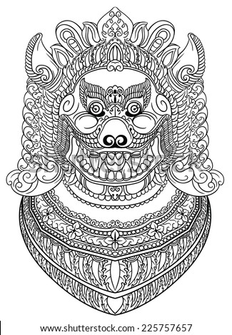 Rich patterned asian demon dog or lion head. Traditional art of Thailand. Line art.