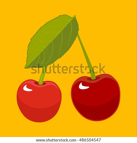 Ripe juicy sweet cherries on yellow background. Vector illustration