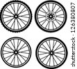 Road and Mountain Bike Wheels and Tires - stock photo