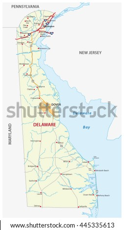 Road Map Of The Us State Delaware