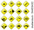 Road Sign Glossy Vector (Set 3 of 8) - stock vector