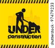 Road sign with man, under construction. vector illustration - stock vector