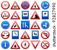 Road signs set on a white background. Vector illustration. - stock vector
