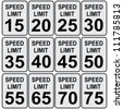 Road speed limit signs from fifteen to seventy-five. Vector illustration. - stock vector