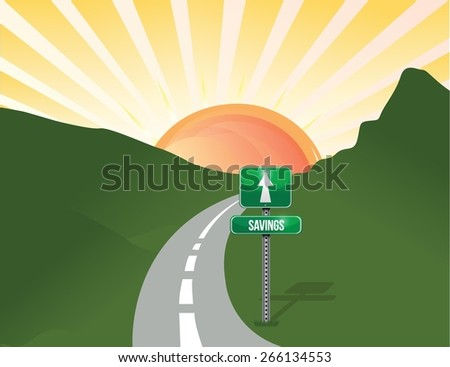 road to savings landscape imagery. illustration design