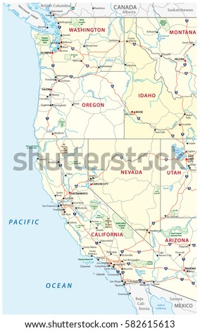 Us Interstate Highway Map Stock Vector Shutterstock - Us map with roads