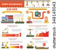 Robot infographics set with factory production signs and charts vector illustration - stock vector