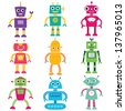 Robots vector set - stock photo