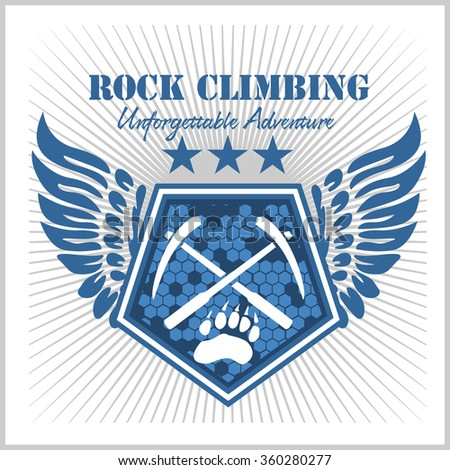 Rock climbing and mountain climbing - vector emblem on dark background.